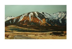 Mt Ida - sunlight and road oil on canvas paper 110 x 71 cm framed