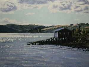 Dunedin Harbour - boat shed oil on canvas paper 80 x 65 SOLD